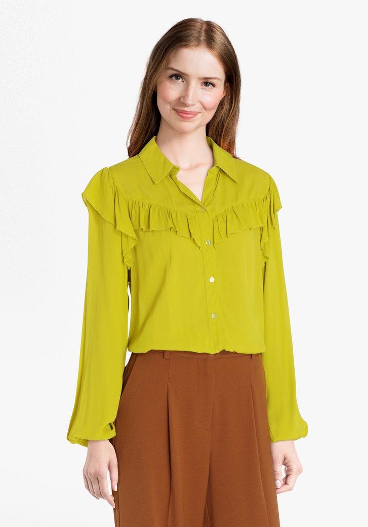 Groene blouse met ruches