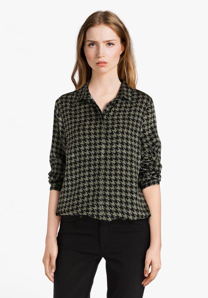 Groene blouse met zwarte print