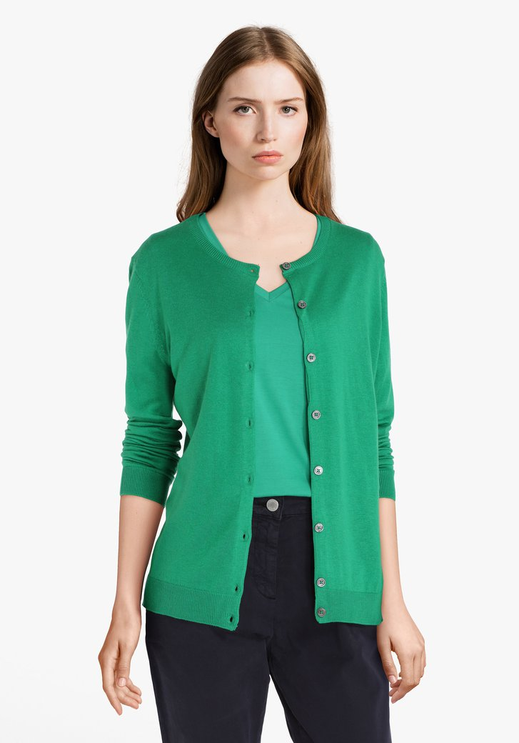 Groene cardigan met wol en zijde