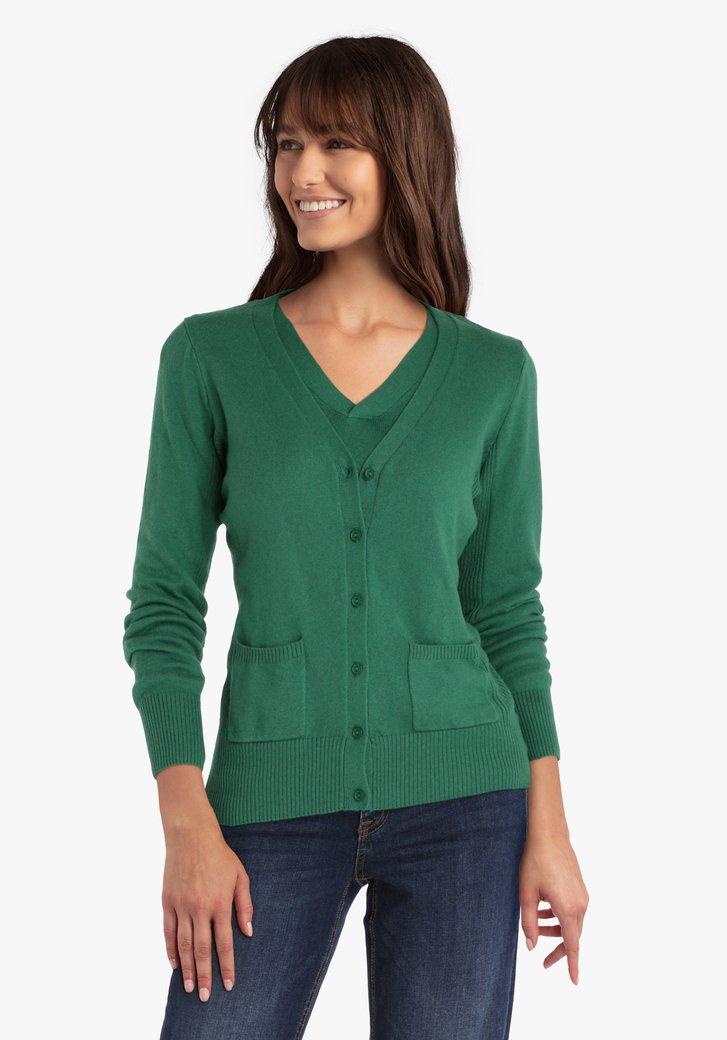 Groene cardigan met wol