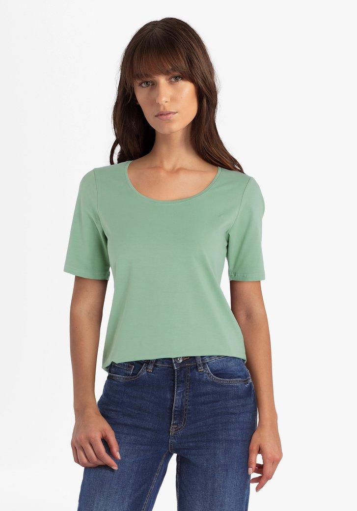 Groene katoenen T-shirt met ronde hals