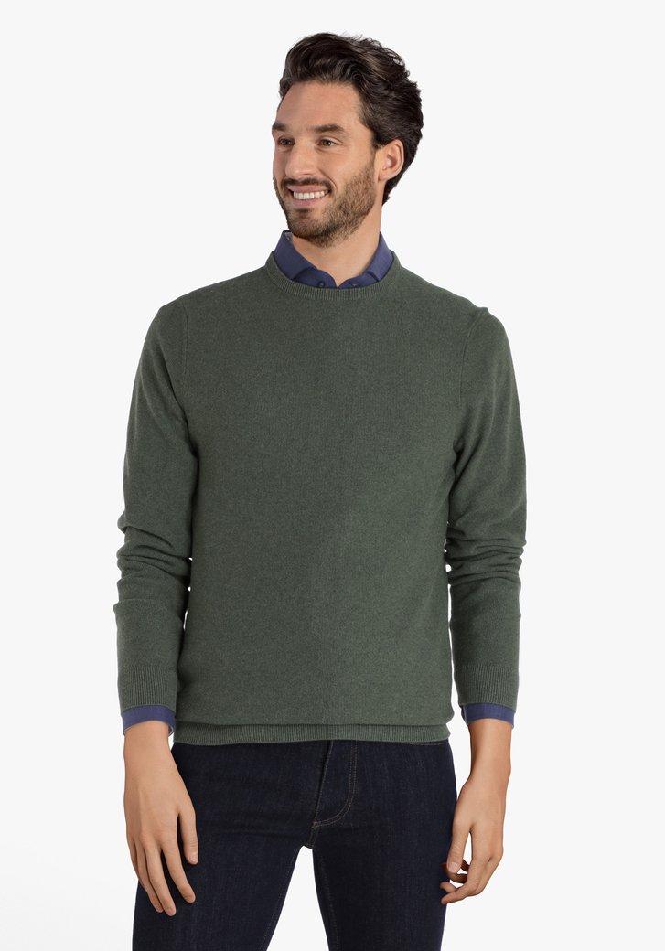 Groene katoenen trui met geribde ronde hals