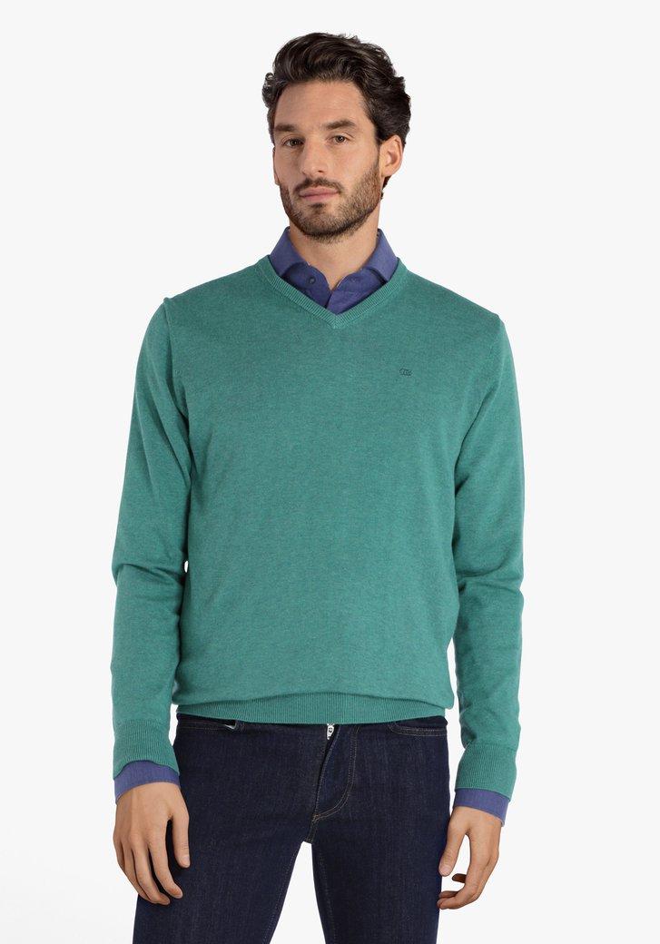 Groene katoenen trui met V-hals
