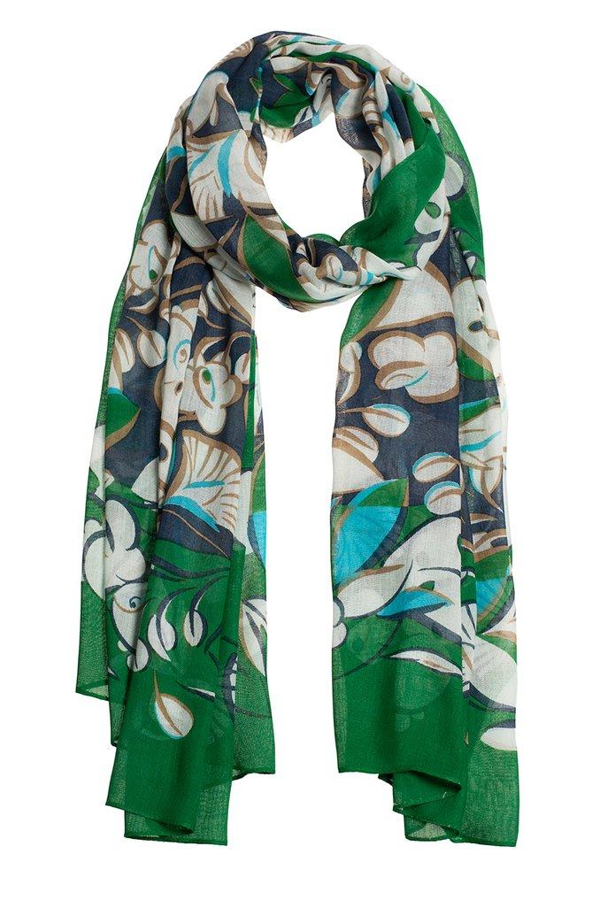 Groene sjaal met blauwe bloemenprint