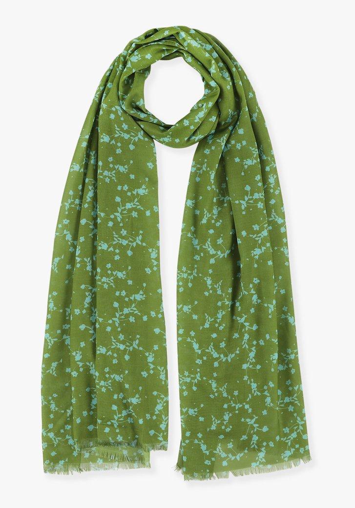 Groene sjaal met blauwe bloemetjes
