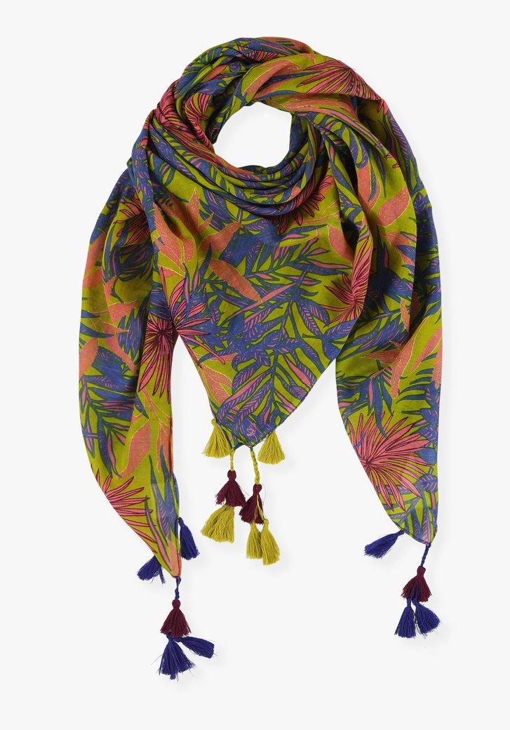 Groene sjaal met botanische print en franjes