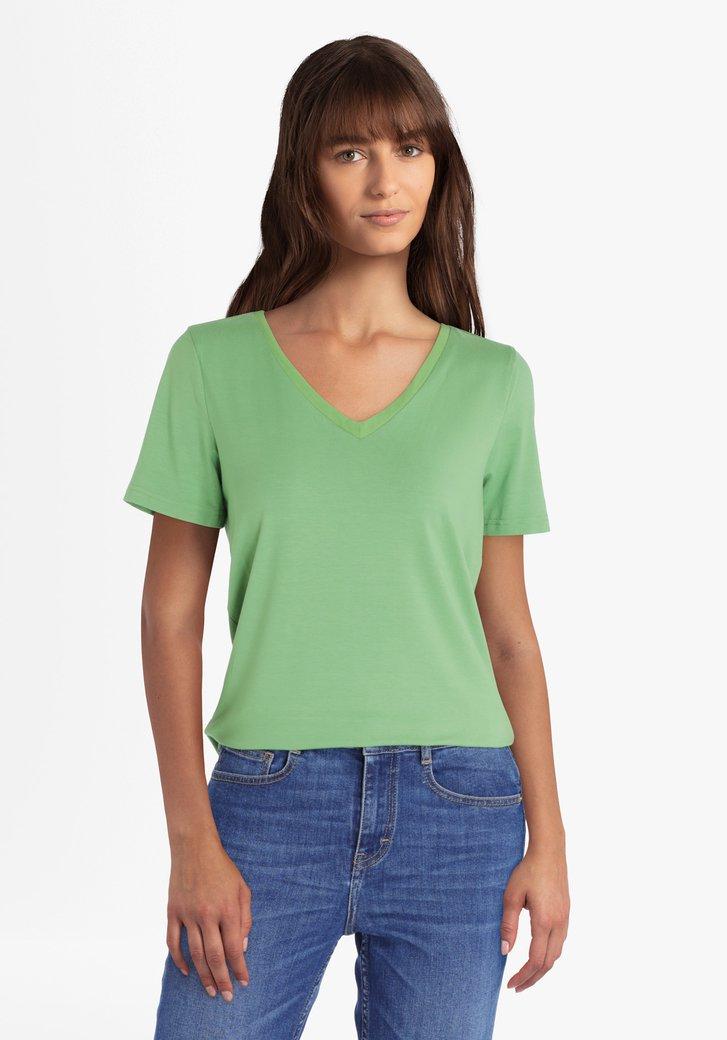 Groene T-shirt met V-hals