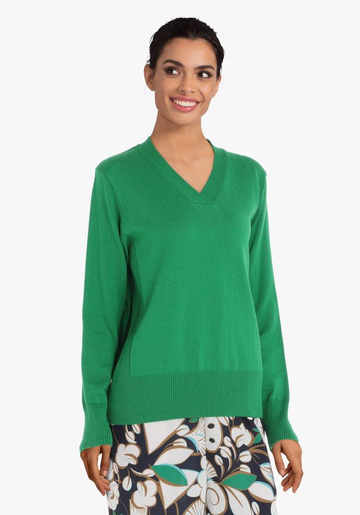 Groene trui met geribde V-hals