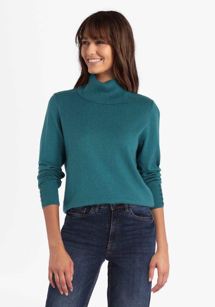 Groene trui met opstaande kraag