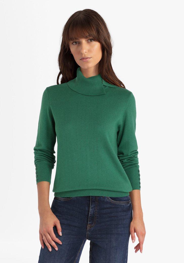 Groene trui met rolkraag en decoratieve knopjes