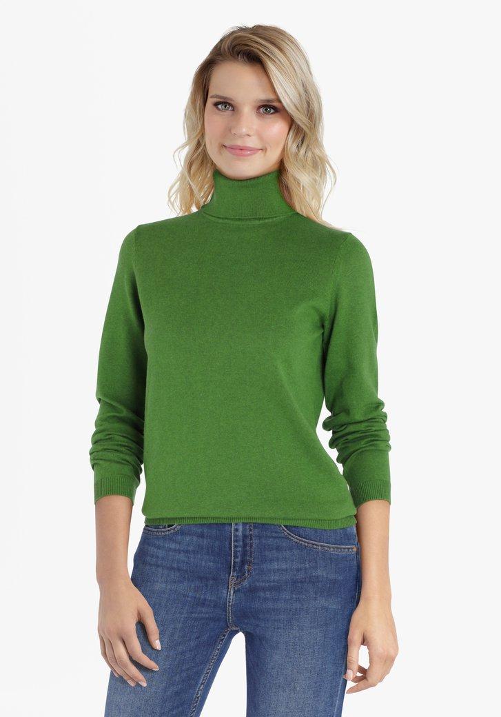 Groene trui met rolkraag