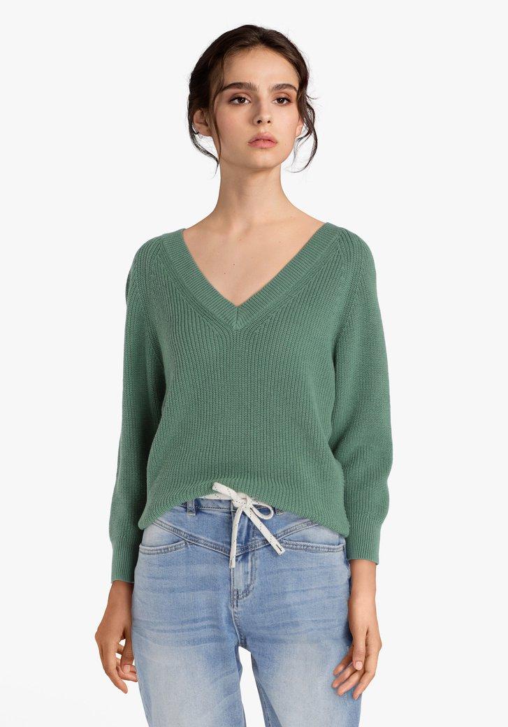 Groene trui met V-hals in katoentricot