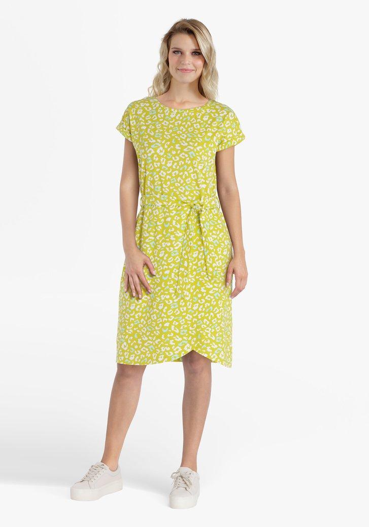 Groengeel kleed met panterprint