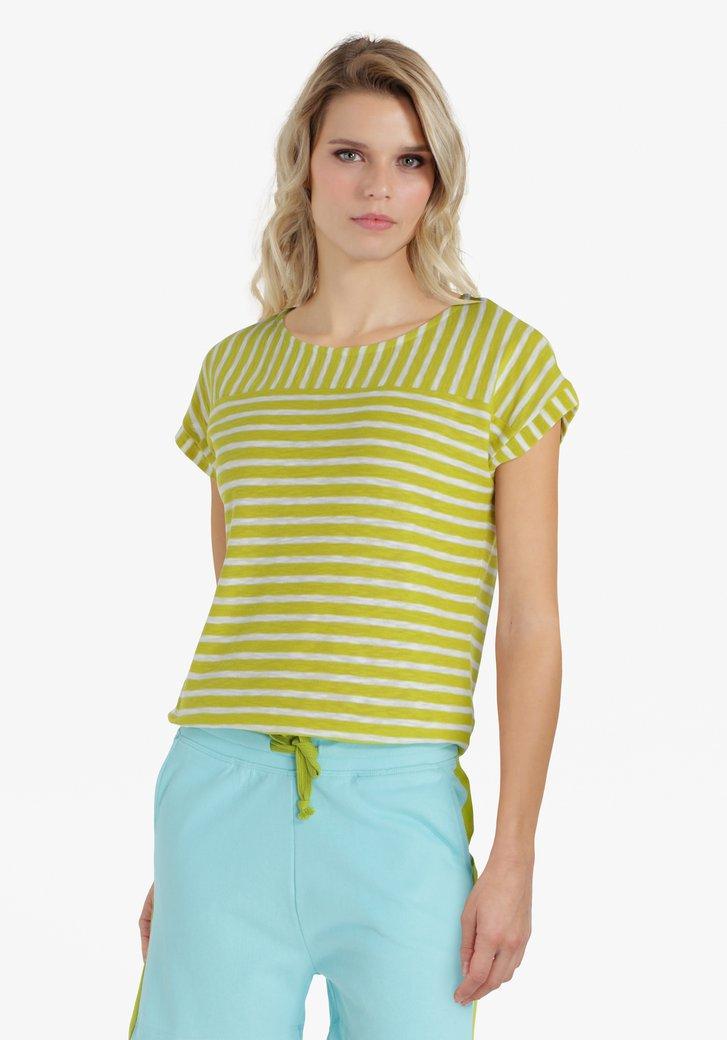 Groengele T-shirt met witte strepen