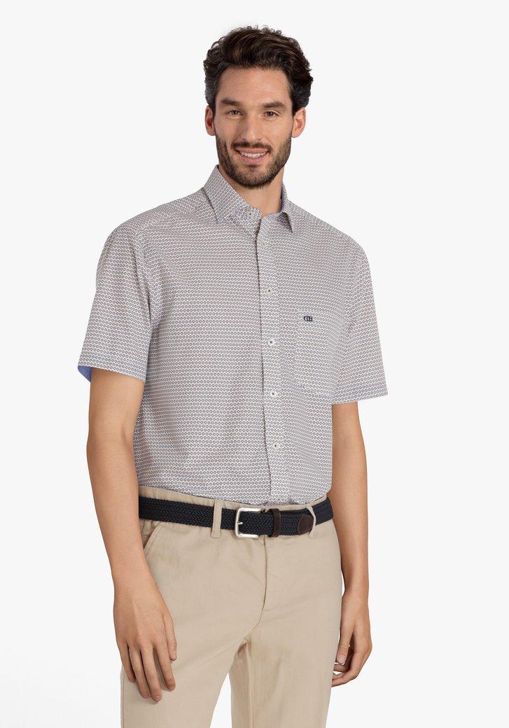 Hemd met blauw-gele print - comfort fit
