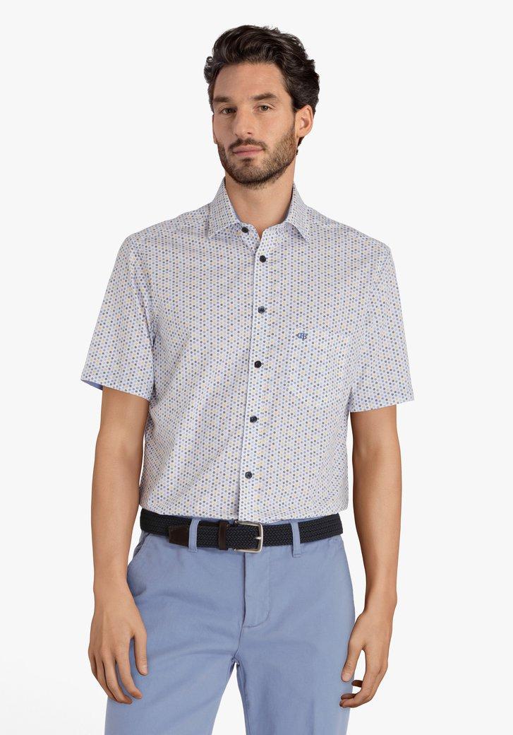 Hemd met blauw-gele print - regular fit