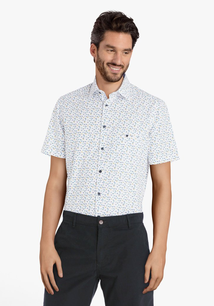 Hemd met blauw-gele zomerse print