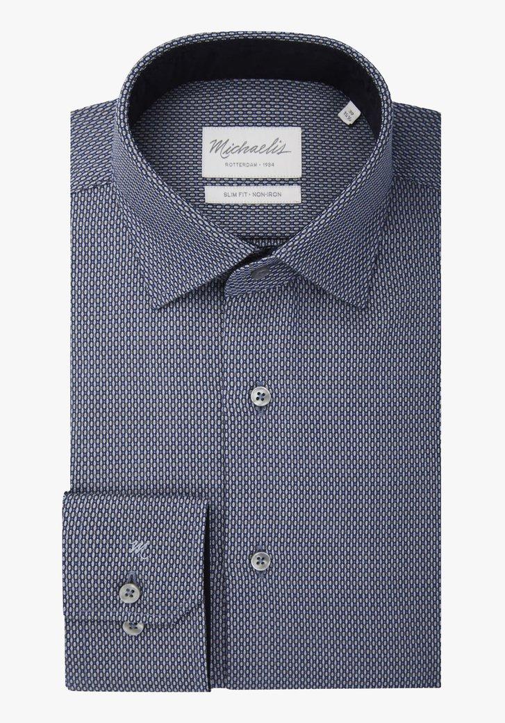 Hemd met blauw-grijze print - slim fit