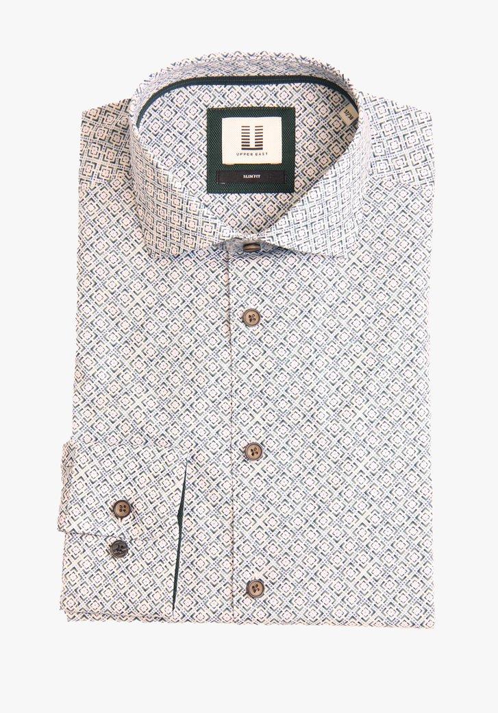 Hemd met blauw-groene print - slim fit