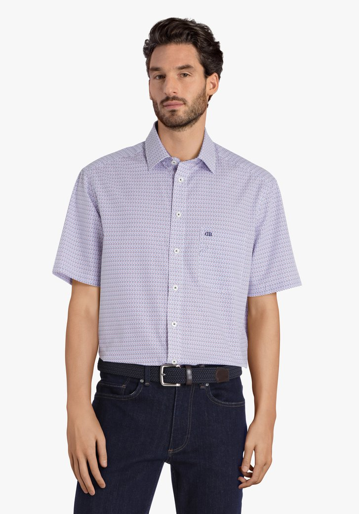 Hemd met blauwe print en korte mouwen-comfort fit