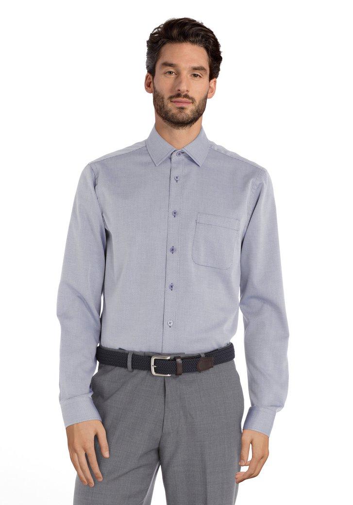 Hemd met donkerblauwe print - regular fit