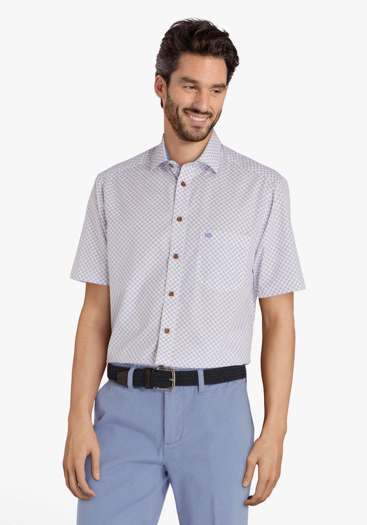 Hemd met rood-blauwe miniprint - comfort fit