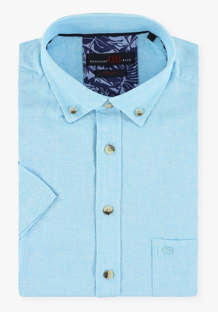 Hemelsblauw hemd met korte mouwen - regular fit