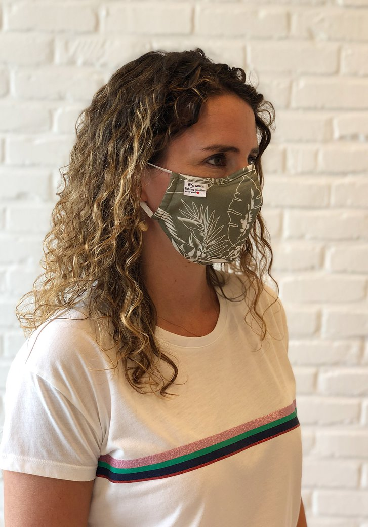 Herbruikbaar stoffen mondmasker - met bladermotief