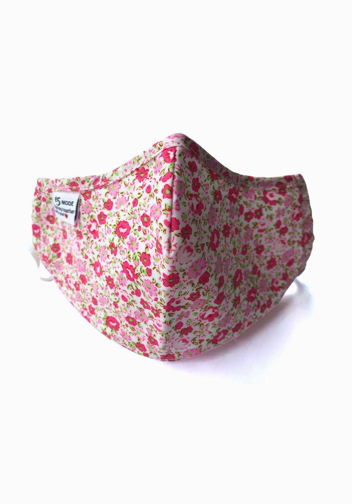 Herbruikbaar stoffen mondmasker -Roze bloemenprint
