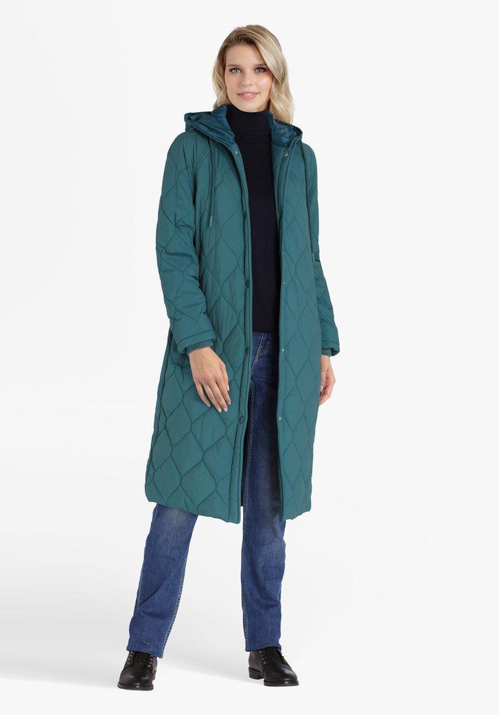 Imperméable long matelassé bleu vert