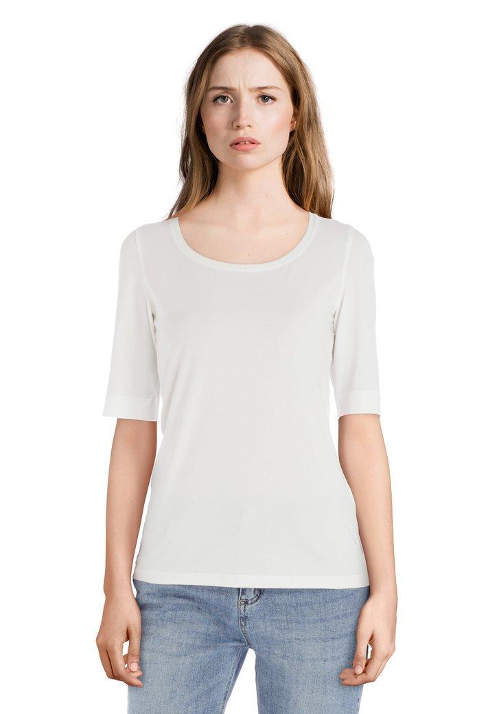 Ivoorkleurig basic T-shirt