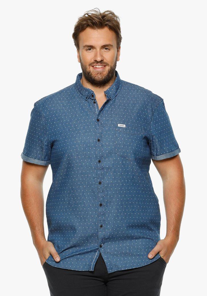 Jeansblauw hemd met witte driehoeken