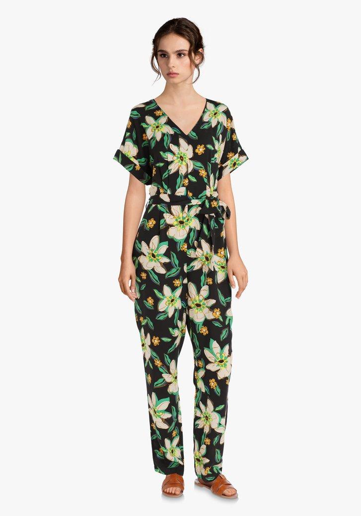 Jumpsuit noir à imprimé floral tropical