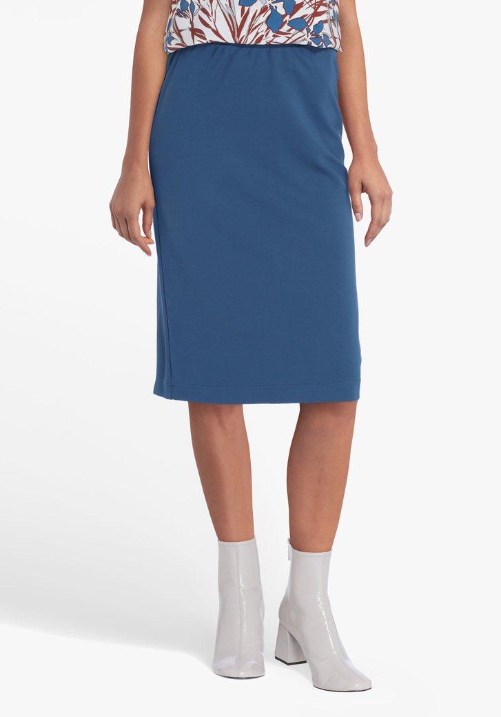 Jupe bleu acier avec taille élastique