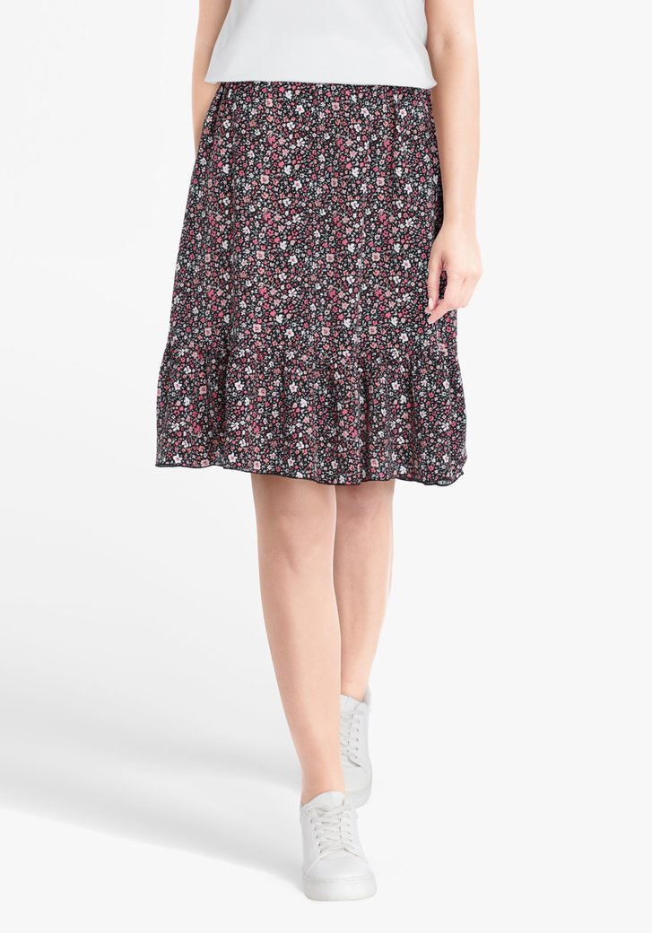Jupe noire avec imprimé floral rose
