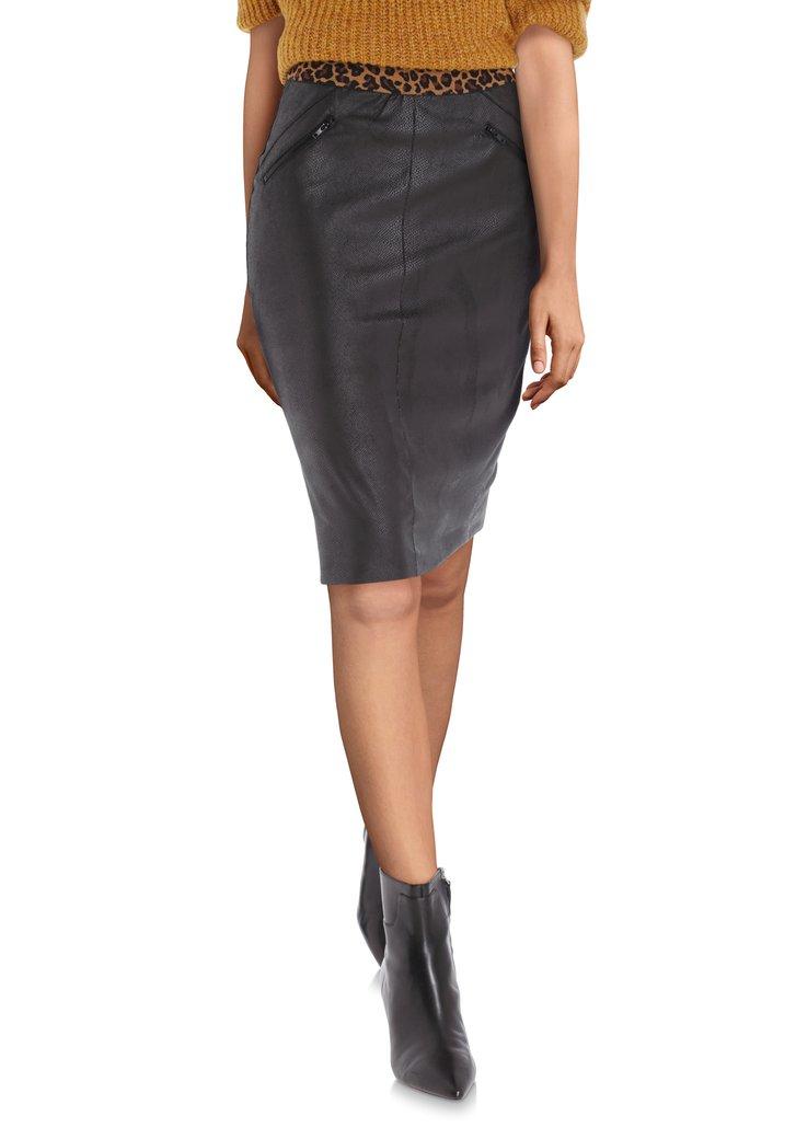 Jupe noire en cuir artificiel avec galon panthère