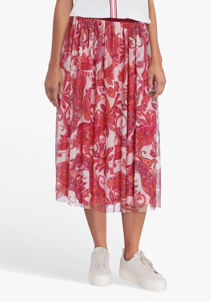 Jupe plissée à imprimé paisley en rose