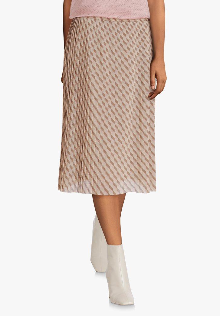 Jupe plissée beige à taille élastique