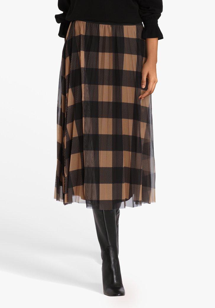 Jupe plissée brun clair-noir