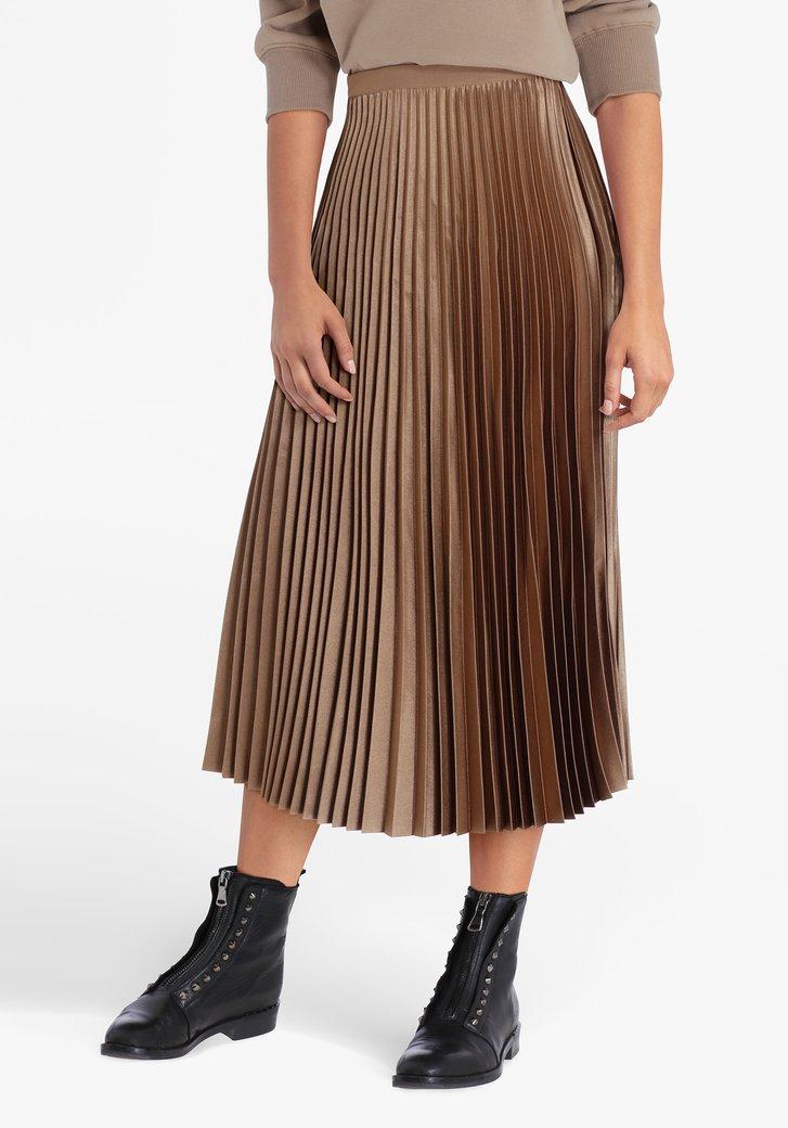 Jupe plissée brune avec taille élastique