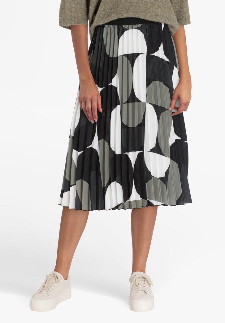 Jupe plissée en noir, kaki et blanc