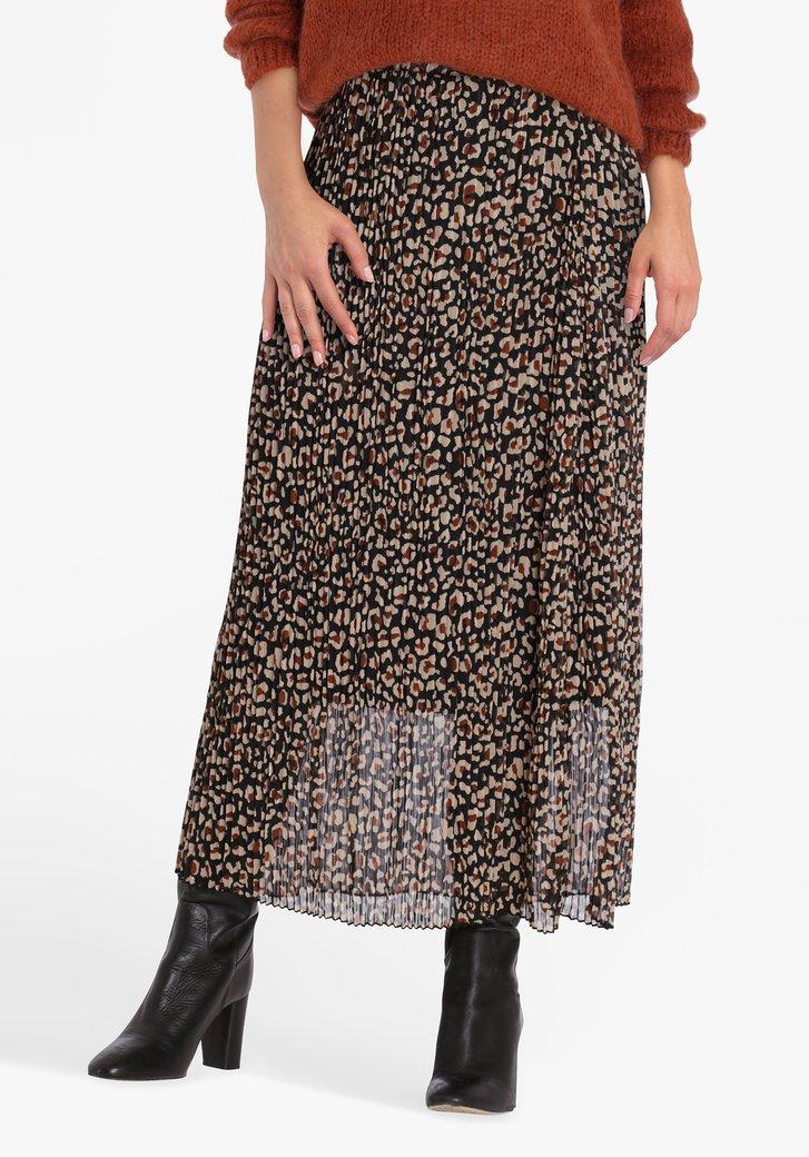 Jupe plissée noire à imprimé marron