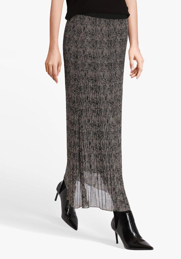 Jupe plissée noire beige avec imprimé serpent