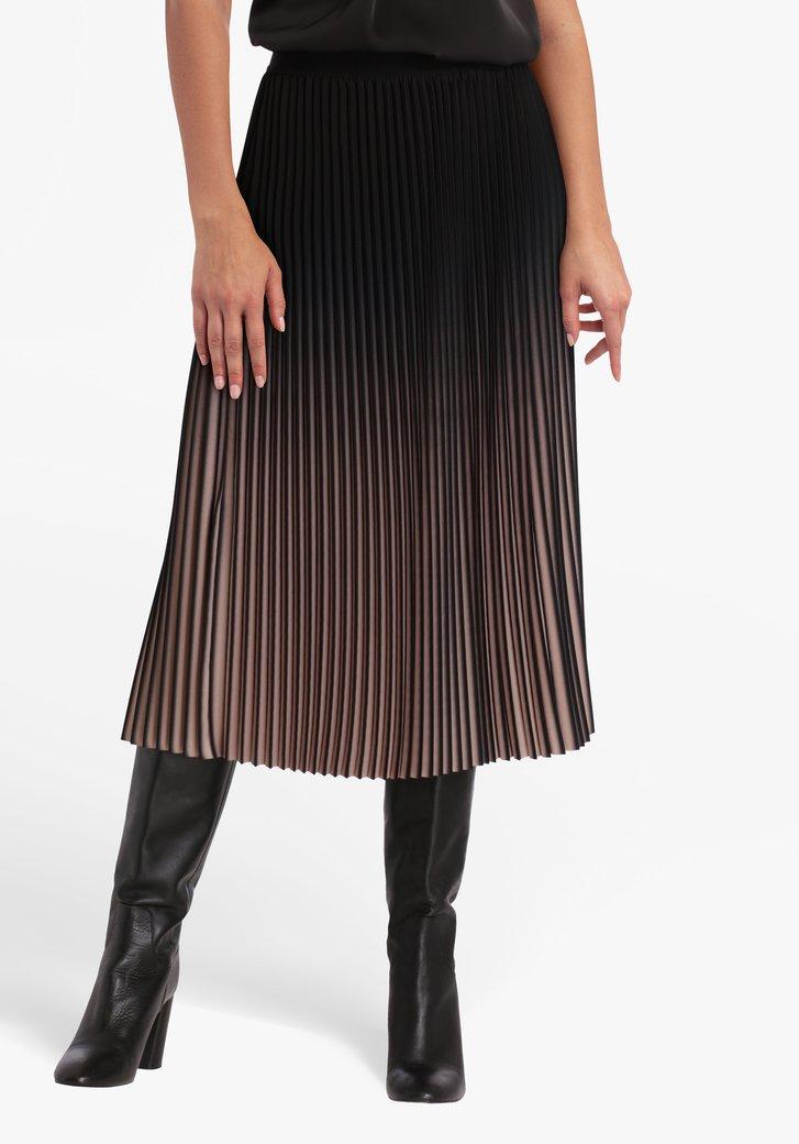 Jupe plissée noire-rose