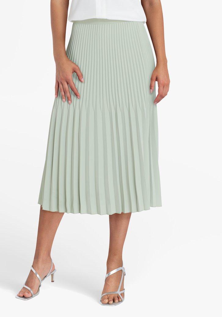Jupe plissée vert menthe avec taille élastique