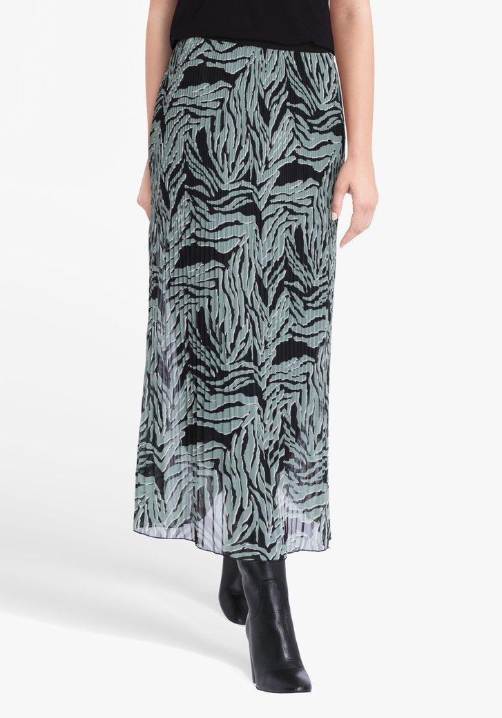 Jupe plissée vert-noir avec taille élastique