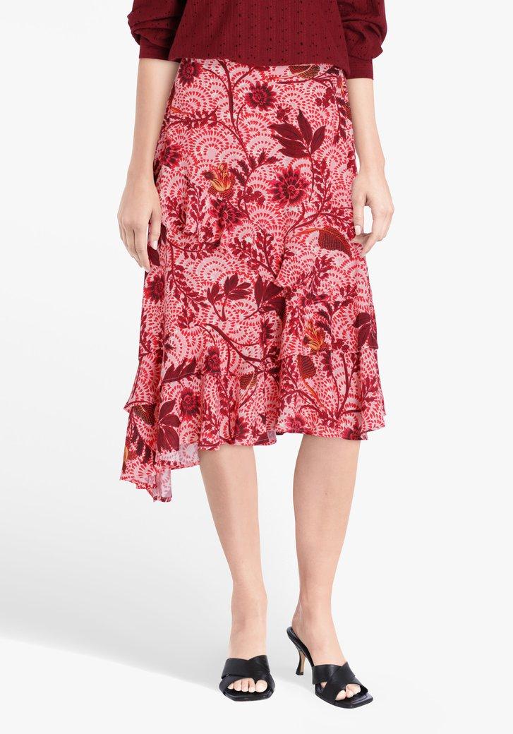 Jupe rose à imprimé floral et à volants