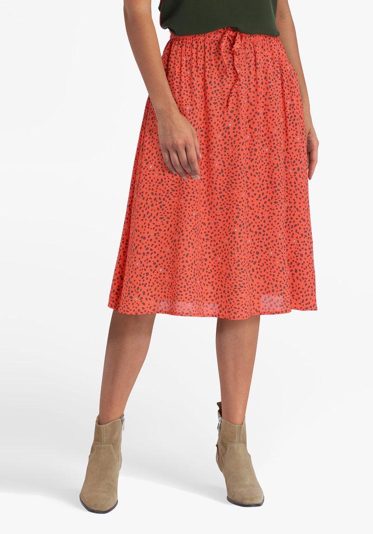 Jupe rouge corail avec imprimé de panthère