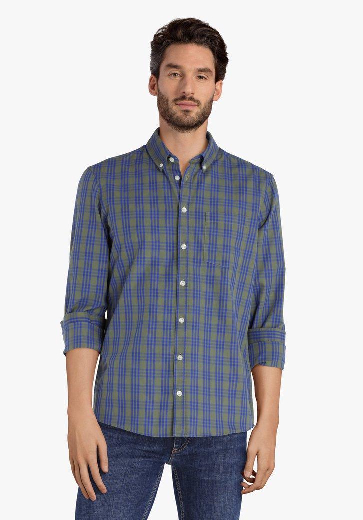 Kaki- blauw geruit hemd - regular fit