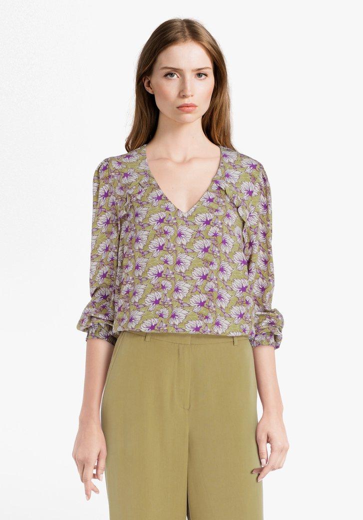 Kaki blouse met bloemenprint en V-hals